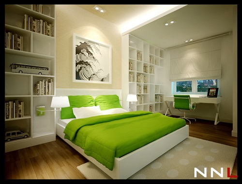 Calming green Bedroom design ideas