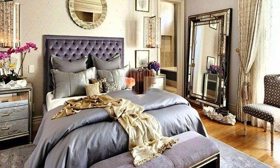 glamorous white gray master bedroom   Master Bedroom glamorous Focal Points - Interior design