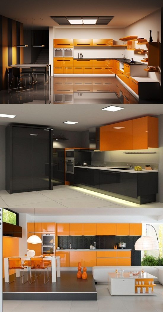 Black and Orange Modern Kitchen Furniture Designs