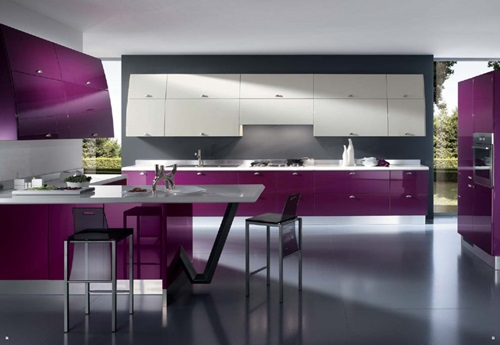 Italian Traditional Purple Kitchen Designs