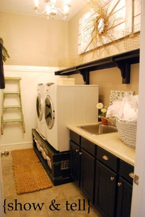 Laundry room cabinets and shelves
