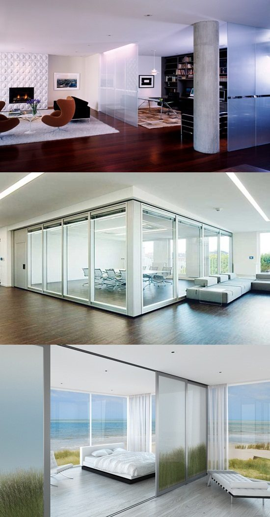 Interior Design 4 Tier Tension Pole Caddy: Modern Glass Room Dividers