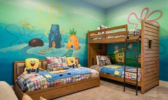 Spongebob square pants themed room design interior design for Cuartos decorados minecraft