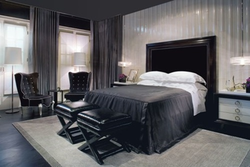 Stylish Girlish Bedroom Design Inspiration with Black Walls