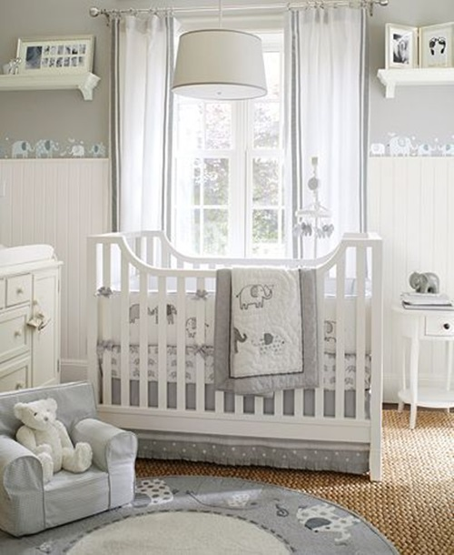 Interior Design Elegant Pink White Gray Baby Girl Room: 7 Splendid Ideas To Create A Blue Elephant-Themed Nursery