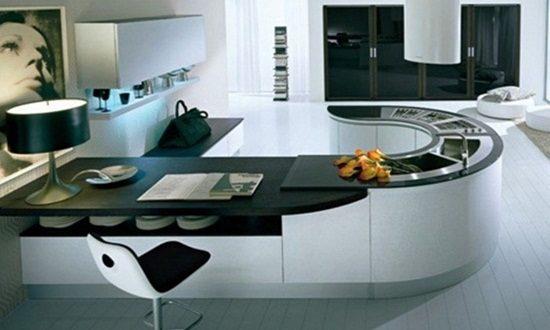 Breathtaking Glossy Black and White Kitchen Designs