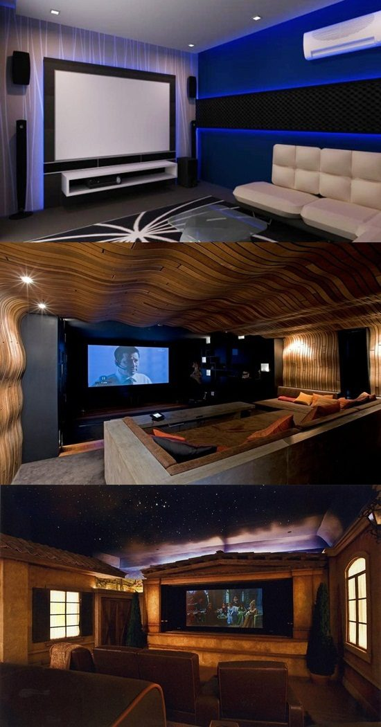 Tranquil Modern Home Theater Design Ideas