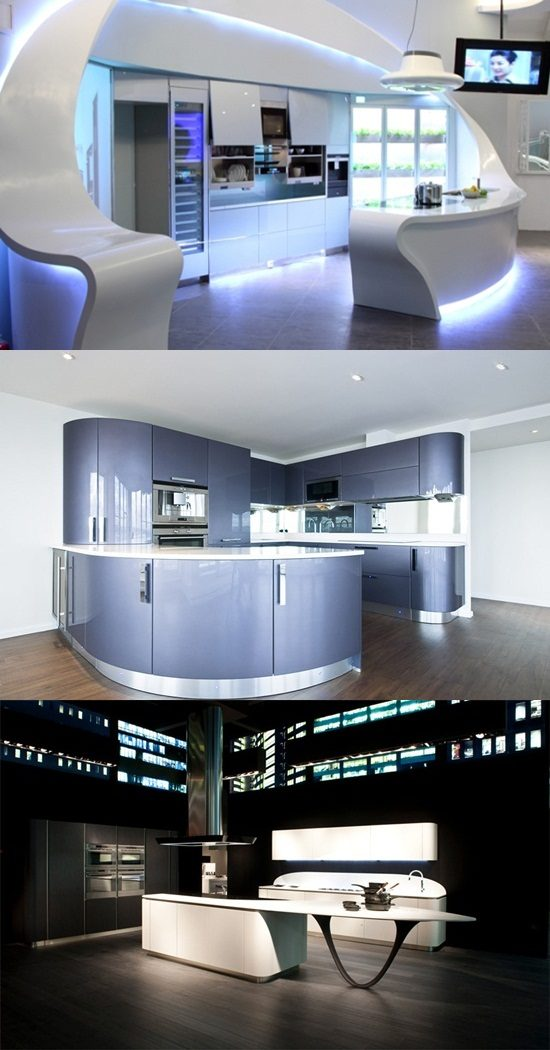 Stylish kitchen with a futuristic concept and rounded lines corner