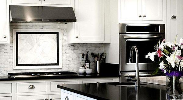 stylish white and black kitchen