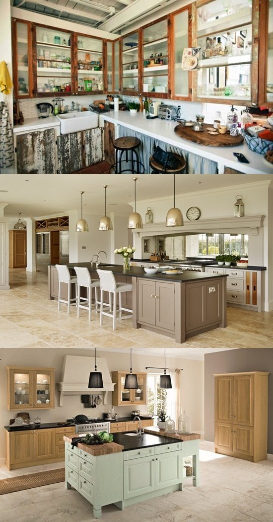 Creative elegant kitchen design by adding glass items