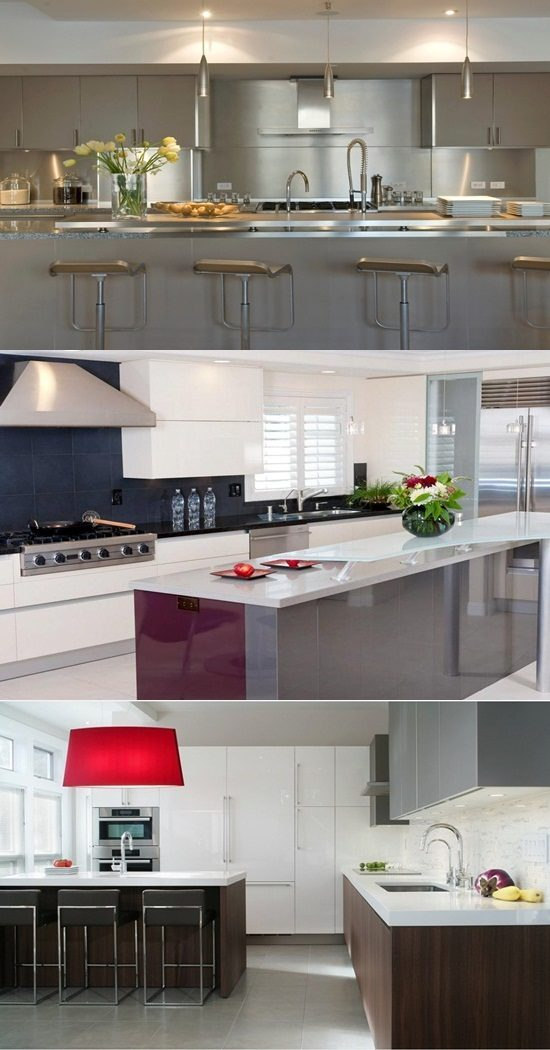 Stylish European kitchen design with sleek and clean look