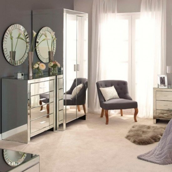 Get a modern touch inside your home with mirrored piece of furniture